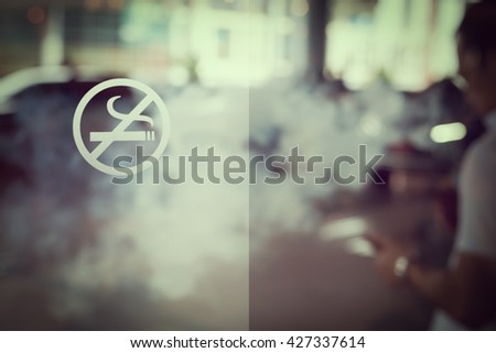 Blur image of no smoking area. vintage or retro style, copy space. - stock photo