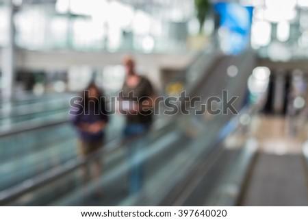 Blur image of Passenger in Suvarnabhumi Airport ,Thailand - stock photo
