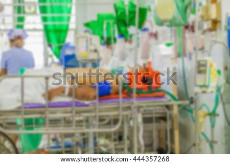 Blur image  of  patient and team  in  emergency room at hospital - stock photo