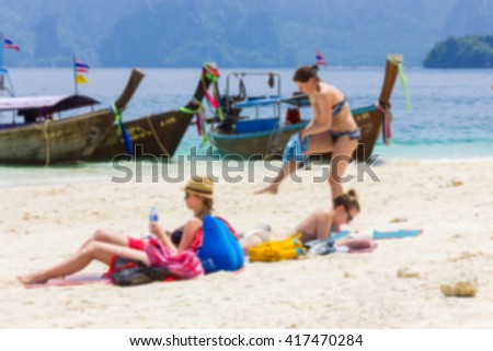Blur image of the beach in Krabi Thailand, use for background.