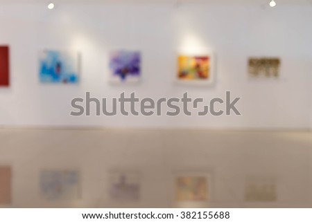 Blur image of the lobby of a modern art center as background with bokeh - stock photo