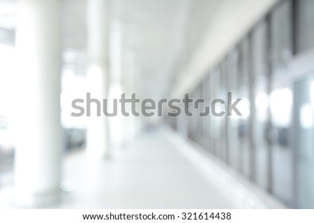 Blur image of white building hallway (or corridor), for background - stock photo