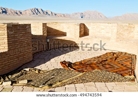 blur in iran antique palace and   caravanserai old contruction for travel people