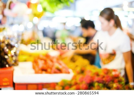 Blur market background with bokeh, Fresh vegetable and fruit market