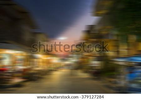 Blur motion abstract of Pedestrian Street. - stock photo