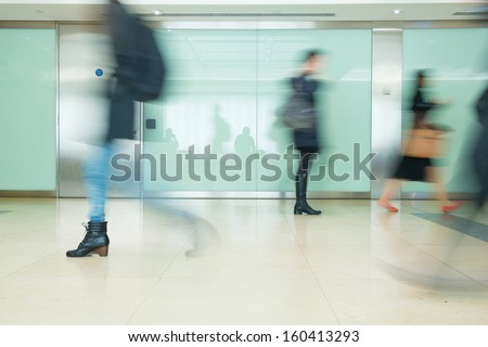 Blur Movement Business people walking in Rush Hour, London, UK