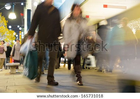 Blur movement of city people worker, shopping in London, England, UK  - stock photo
