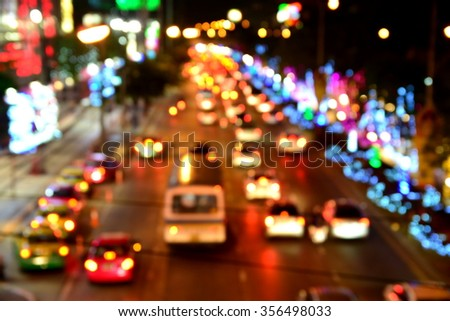 Blur of colorful lights on road at night in new year festival