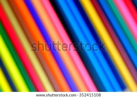 Blur of Part of Colorful Pencils / Colorful Background