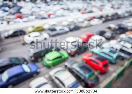 blur of the parking top view - stock photo
