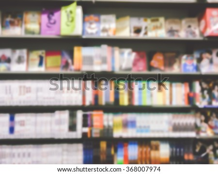 Blur or Defocus Background of  book and bookshelf in book store - stock photo