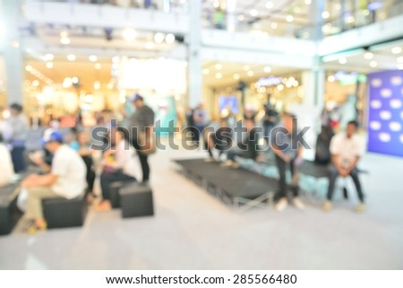 Blur or Defocus Background of Group of Press waiting for Interview. - stock photo
