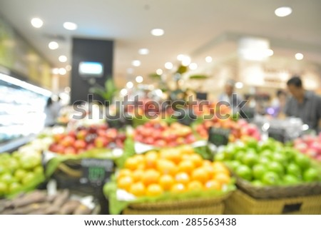 Blur or defocus fruit store background with bokeh light - stock photo