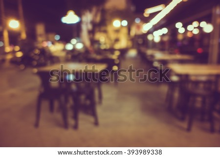 Blur or Defocus image of Coffee Shop, restuarant or Cafeteria at night for use as Background - stock photo