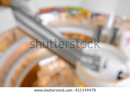 Blur or Defocus image of the lobby of a modern art center as background with bokeh - stock photo