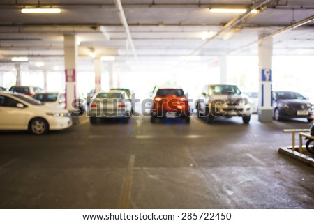 Blur parking with cars