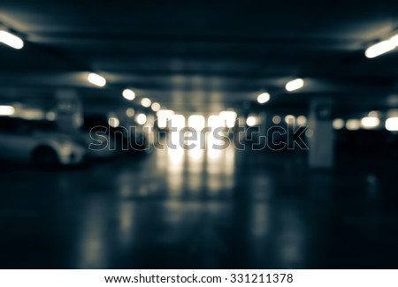 Blur parking with cars - stock photo