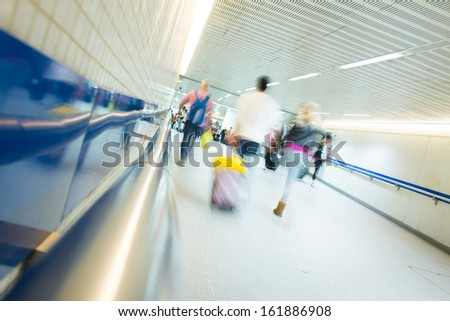 Blur Passenger in London tube airport station movement