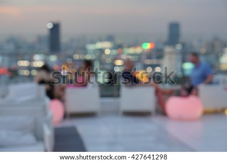 The Night The Light of The Stars on The Terrace of a Luxury Hotel in New York
