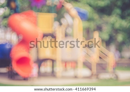 Blur playground in park abstract background. Retro color style. - stock photo