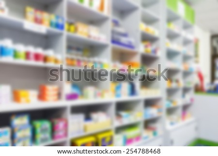blur shelves of drugs in the pharmacy - stock photo