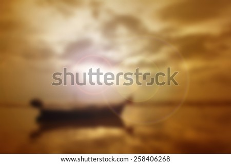 Blur shore fishing boat parked in the evening before sunrise to sunset. - stock photo