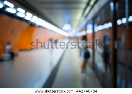 Blur Subway Background with vintage color