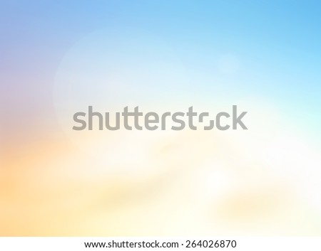 Blur the beach. Bright Sun Sea Sand  Bokeh Flare Surf Soft Zen Glow Ocean Wave Clear Retro Relax Shine Clean Pastel Fresh Bless Smooth Orange Horizon Park Gradient Blue Natural Style Art. - stock photo