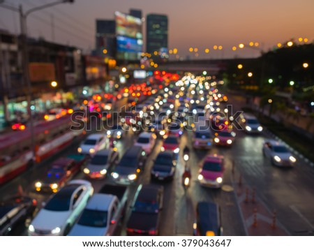 Blur traffic background in evening