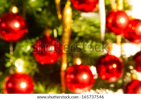 Blur Version Of Christmas Tree Close Up Background
