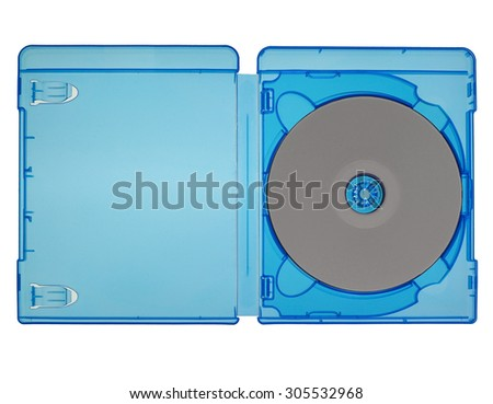 Bluray video disc in a blue box isolated over white - stock photo