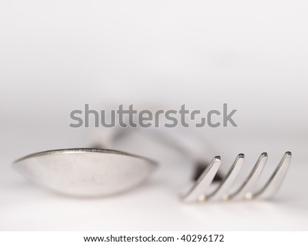 blured fork and spoon