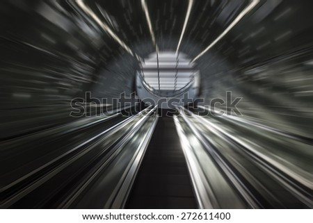 Blured futuristic stairs of Subway system - stock photo