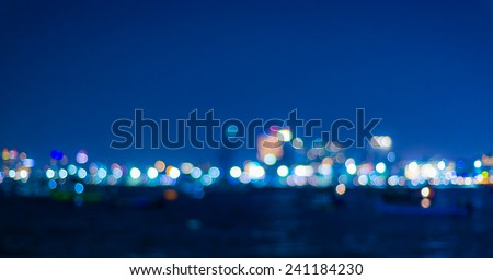 Blured lighhts from Pattaya, Thailand, bokeh - stock photo