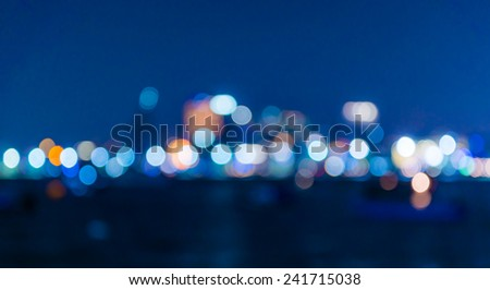 Blured lighhts from Pattaya, Thailand, bokeh - stock photo