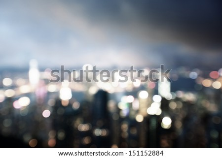 blured lighhts from peak Victoria, Hong Kong - stock photo