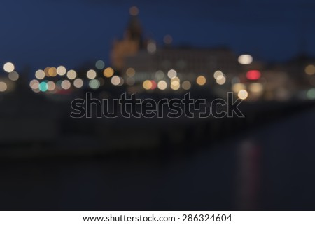 Blured lights from Helsinki city, Finland.  - stock photo