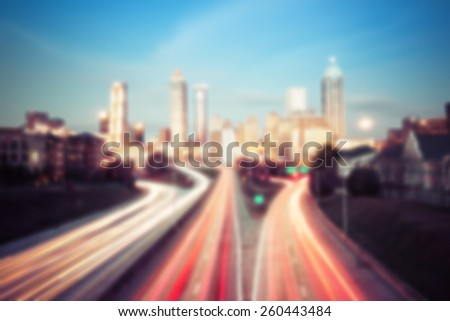 Blured lights of Atlanta skyline, Georgia, USA - stock photo