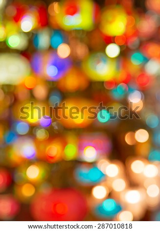 Blured lights of the traditional turkish lamps on the market - stock photo