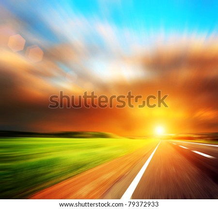 blured road and blured sky - stock photo
