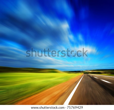 blured road and sky