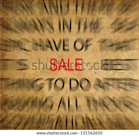 Blured text on vintage paper with focus on SALE - stock photo