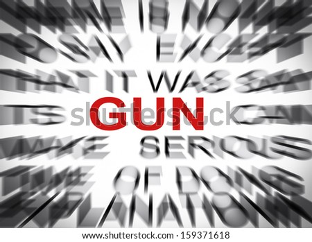 Blured text with focus on GUN - stock photo
