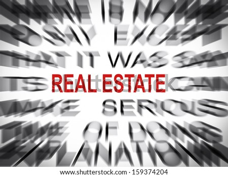Blured text with focus on REAL ESTATE - stock photo