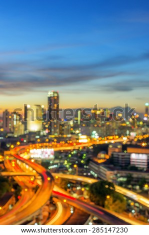 Blurred abstract background lights, beautiful cityscape with Expressway view.