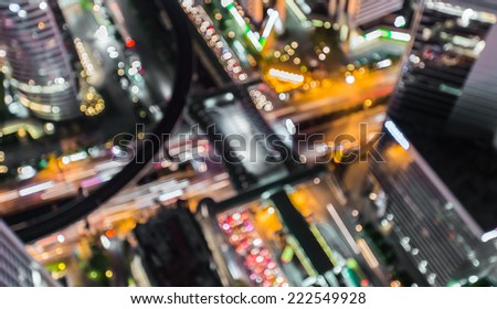 Blurred abstract background lights, beautiful top view of Bangkok City
