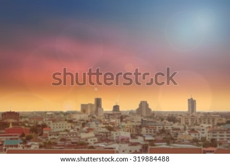 blurred abstract background of cityscape growth.thailand.silhouette