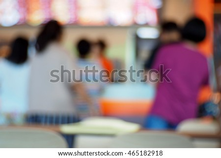 Blurred abstract background of People shopping at the counter