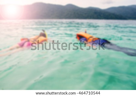 Blurred abstract background of People snorkeling