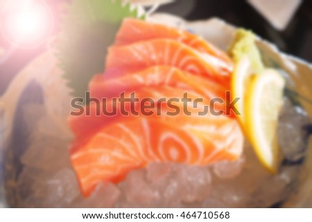 Blurred abstract background of Salmon Japanese food